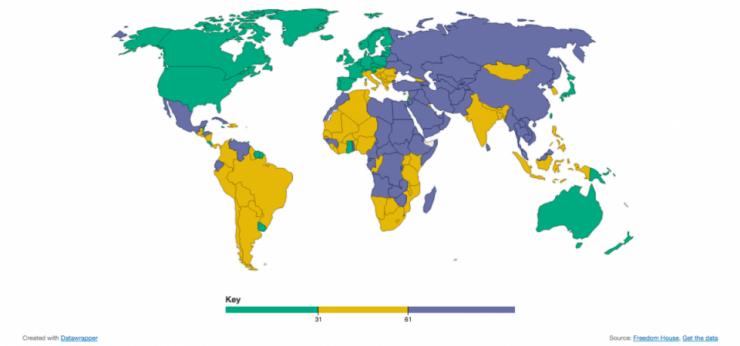 La mappa relativa alla libertà di stampa nel mondo