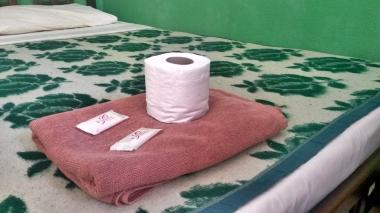 Il tipico kit da guesthouse di livello modesto è composto da un rotolo di cartaigienica, due saponette e almeno un asciugamano - (c) foto Mauro Proni 2015