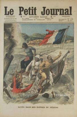 La copertina de Le Petit Journal del 31 luglio 1910 raffigurante l'affondamento della Grandière nell'atto di attraversare le rapide del Mekong nei pressi di Luang Prabang -