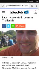 L'articolo di La Repubblica relativo al caso di Giancluca di Gioia