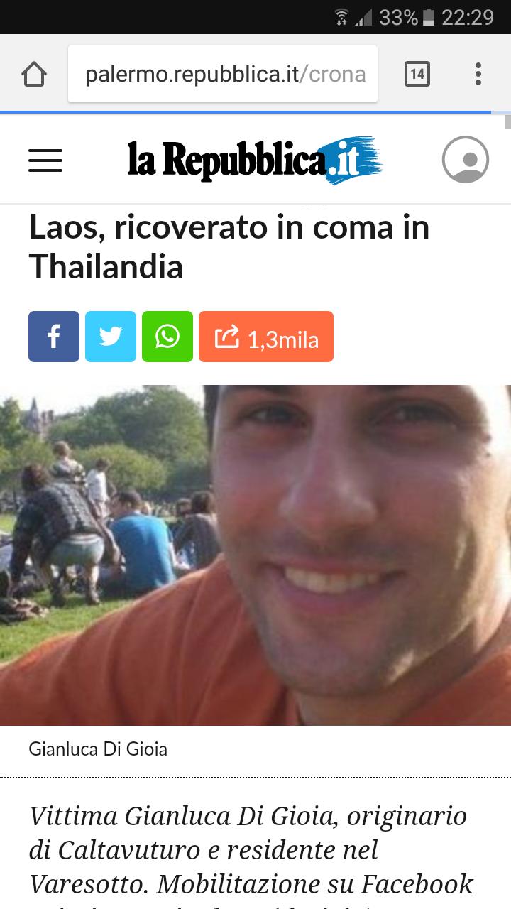 Giancluca Di Gioia, l'italiano trovato in coma in Laos